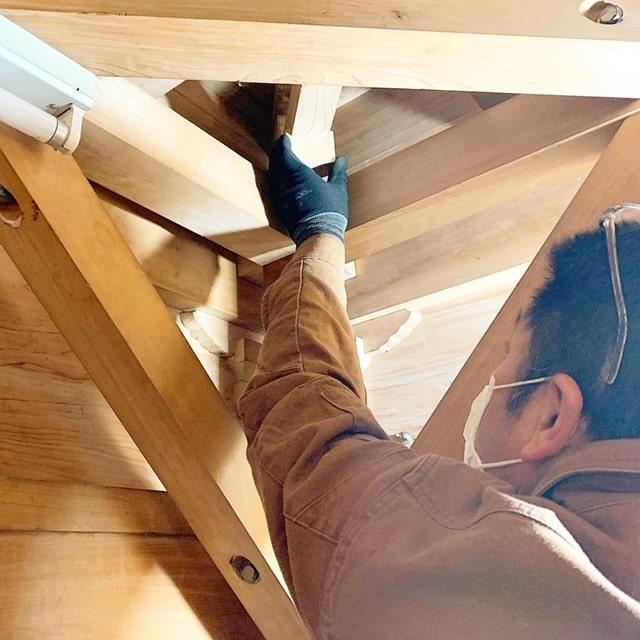 屋台の点検・修繕工事をしています。点検も修繕もお任せ下さい。お祭りがないこの良い機会に屋台の点検をしませんか~!?